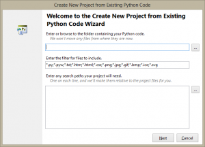 New Project from Existing Python Code Wizard page one