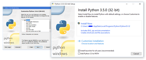 The old Python installer alongside the new one for Python 3.5