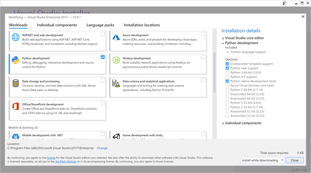 The Visual Studio 2017 installer featuring a Python workload